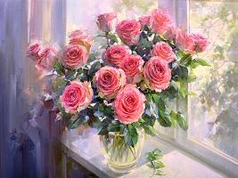 تابلو رنگ روغن گل