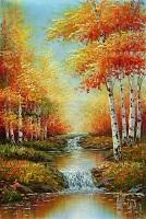تابلو رنقاشی رنگ روغن منظره پاییز
