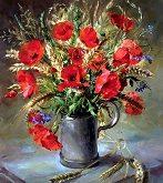 تابلو رنگ روغن گل شقایق