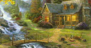 تابلو رنگ روغن طبیعت روستایی